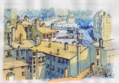 Lyon,Croix-rousse,aquarelle